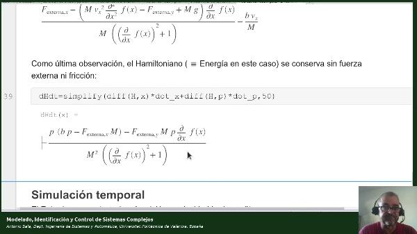 Ejemplo modelado de sistema mecánico bola guiada (6): método Hamiltoniano