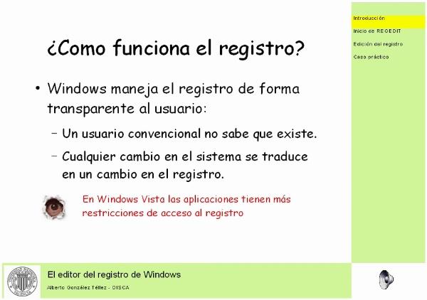 El editor del registro de Windows