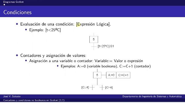 Contadores y condiciones no booleanas en diagramas Grafcet