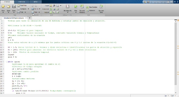 Simulación de una ecuación diferencial autónoma en MatLab