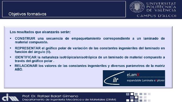 Variación de las propiedades mecánicas de materiales compuestos en funcion del ángulo (q) con eLamX