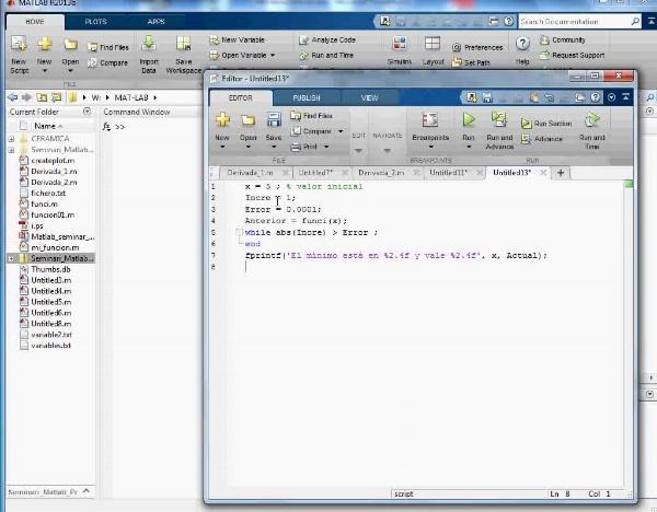 MN-DE-08 Cálculo Numérico Mínimo Mat Lab