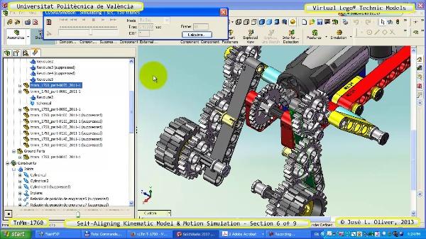 Simulación Dinámica Lego Technic T-1760 sobre Base ¿A- 6 de 9