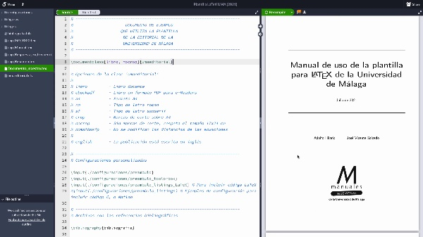 Mi primer documento online con la plantilla para LaTeX de la UMA