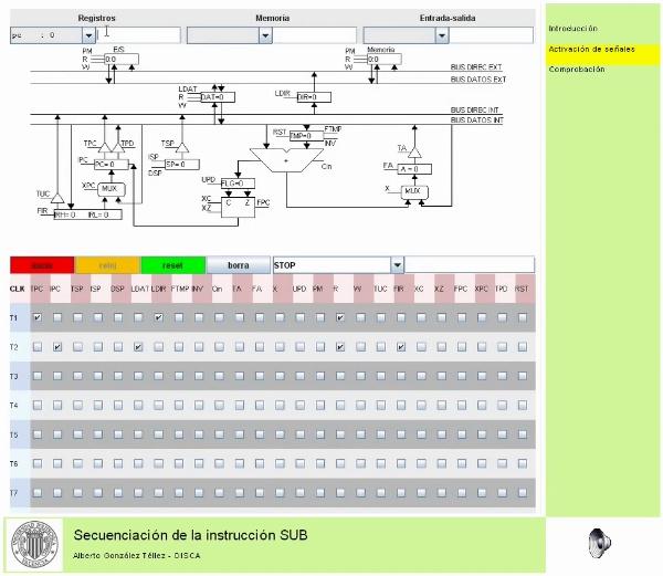 Secuenciación de la instrucción SUB