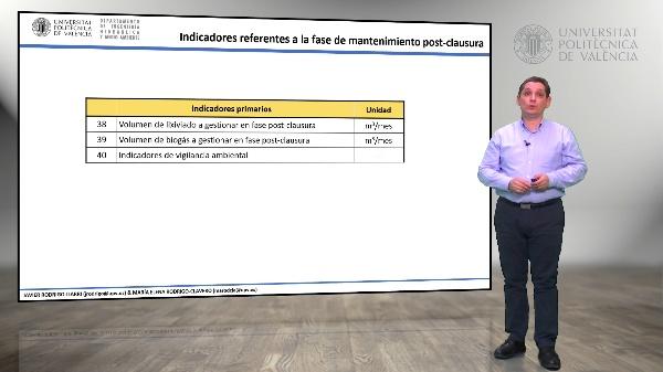 5.15.- Indicadores referentes a la fase de mantenimiento post-clausura