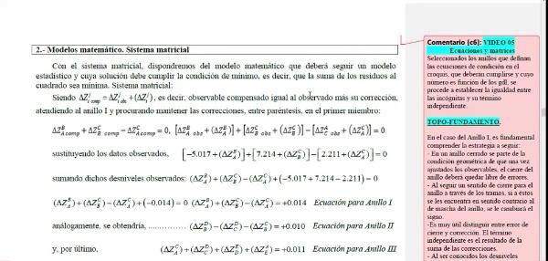 Ajuste de observaciones. Mínimos cuadrados. Ecuaciones de condición. 05_Ecuaciones y Sistema matricial