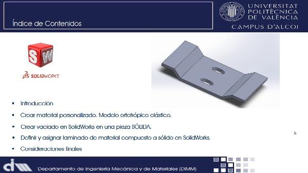 Asignación de materiales compuestos (laminados) a una pieza sólida en SolidWorks