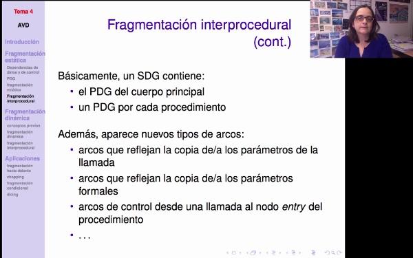 AVD - Fragmentación (estática) de programas. Caso interprocedural