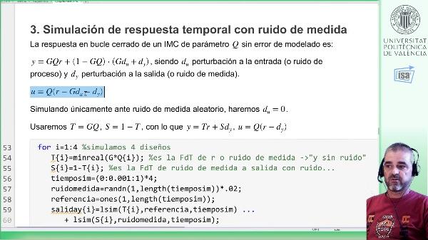 IMC de proceso de segundo orden: alternativas diseño (2), sensibilidad a ruido de medida y de proceso
