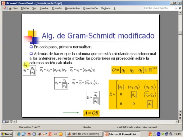 Tema 6. Aproximación mínimo-cuadrática. Factorización QR. Algoritmo de Gram-Schmidt (1)