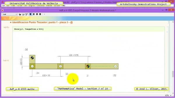 Solución Cinemática Simbólica a-4-1553 con Mathematica - 07 de 23 - Modelo Mathematica