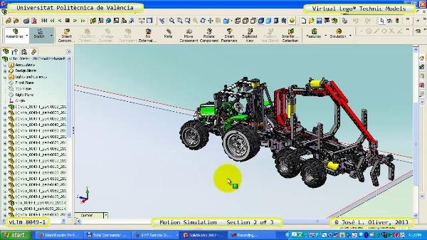 Simulación Dinámica Lego Technic 8049-1 sobre Base 2 de 3