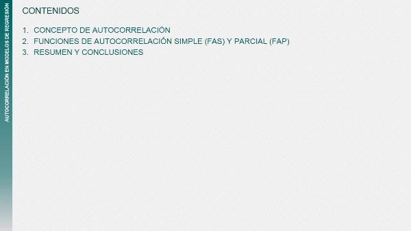 Funciones de autocorrelación simple y parcial aplicadas a la validación de los modelos de regresión