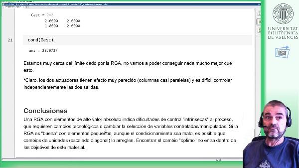 RGA y condicionamiento mínimo: ejemplo MATLAB