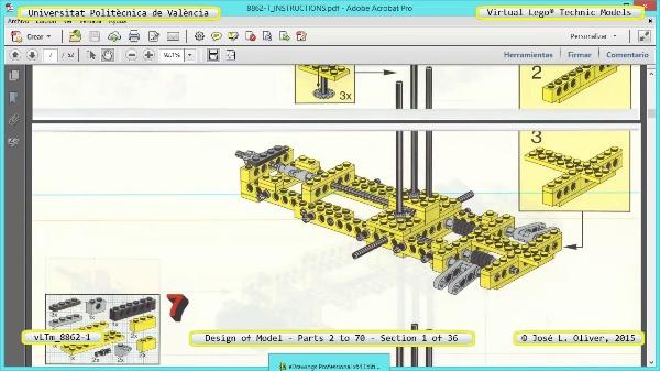 Creación Virtual Modelo Lego Technic 8862-1 ¿ Piezas 2 a 70 ¿ 01 de 36