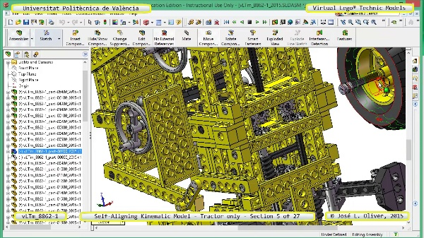 Simulación Dinámica Lego Technic 8862-1 - Tractor - sobre Base - 05 de 27