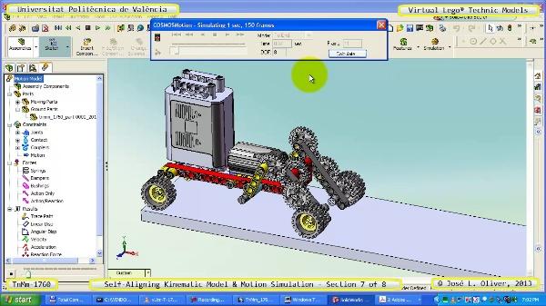 Simulación Dinámica Lego Technic T-1760 sobre Base ¿B- 7 de 8