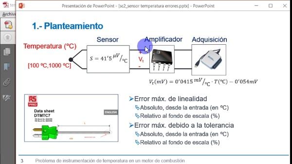 Cálculo de errores en un sensor de temperatura