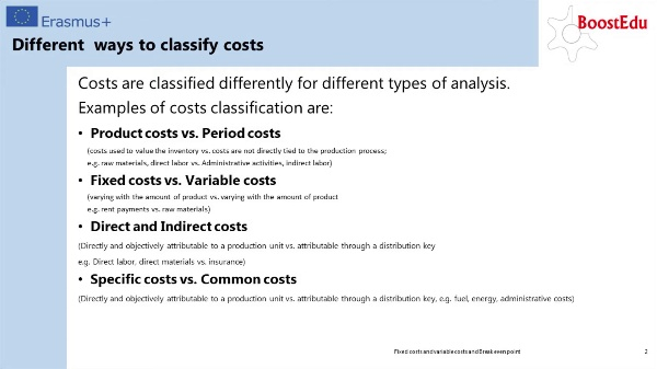 Fixed and variable costs & break even point II