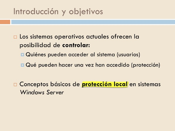 Protección local en sistemas Windows Server