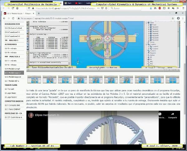 Mecánica y Teoría de Mecanismos ¿ 2020 ¿ MM ¿ Práctica 02 ¿ Tramo 02 de 03