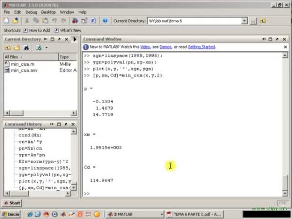 Tema 6. Aproximación mínimo-cuadrática. Ejemplo de uso de min_cua.