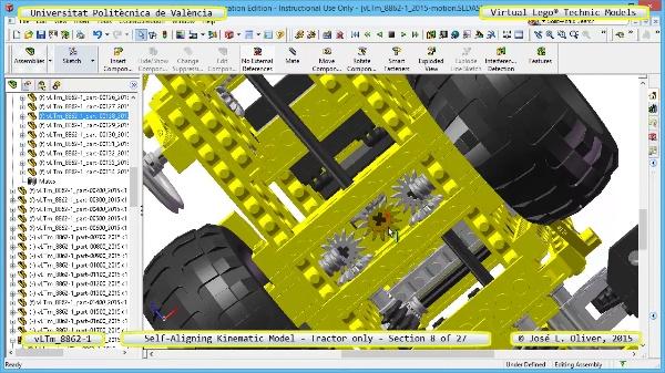 Simulación Dinámica Lego Technic 8862-1 - Tractor - sobre Base - 08 de 27