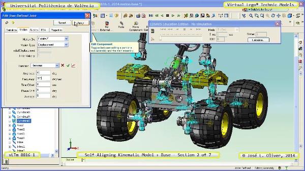 Simulación Dinámica Lego Technic 8816-1 sobre Base ¿ 2 de 7