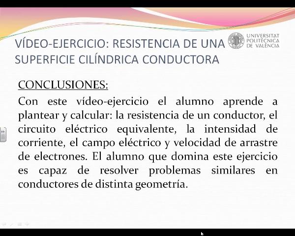 Resistencia eléctrica de una superficie cilíndrica conductora