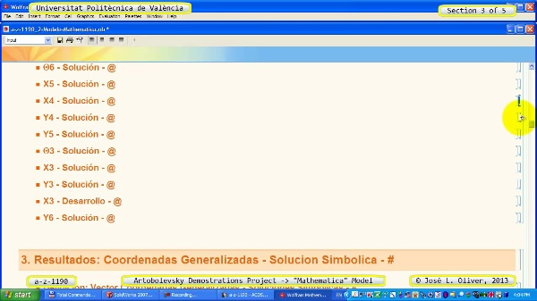 Solución Cinemática Simbólica a_z_1190 con Mathematica - 3 de 5
