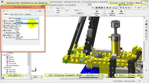 Simulación Cinemática Lego Technic 8459-2 con Cosmos Motion ¿ 05 de 29