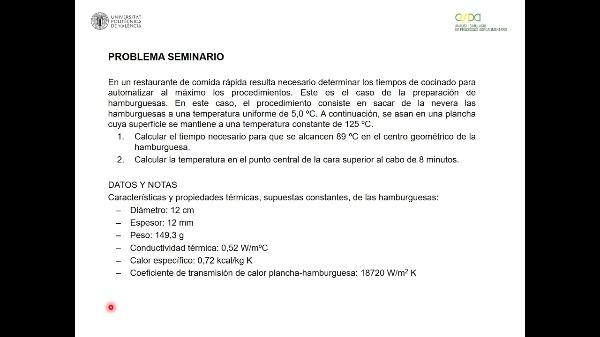 Resolución de problemas de transporte de calor en estado no estacionario. Seminario 5 Grupo A