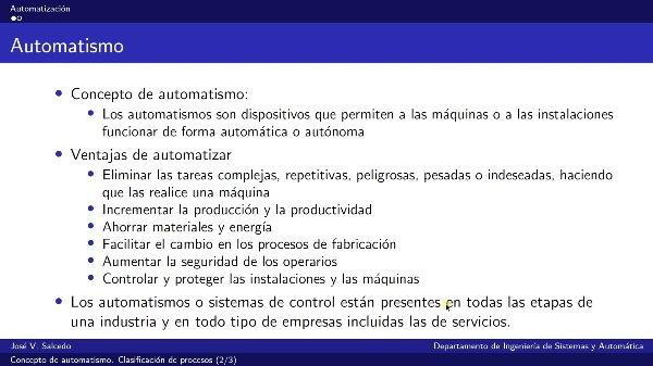 Concepto de automatismo. Clasificación de procesos