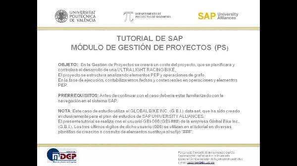 Tutorial de SAP: Gestión de Proyectos (PS). Seguimiento y Control. (Caso de Estudio SAP UA)