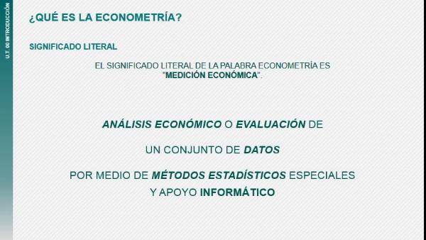 Introducción a la asignatura Econometría - grupo online 2016-2017