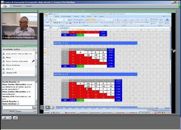 Programa de cálculo de la consistencia y el vector propio de una matriz