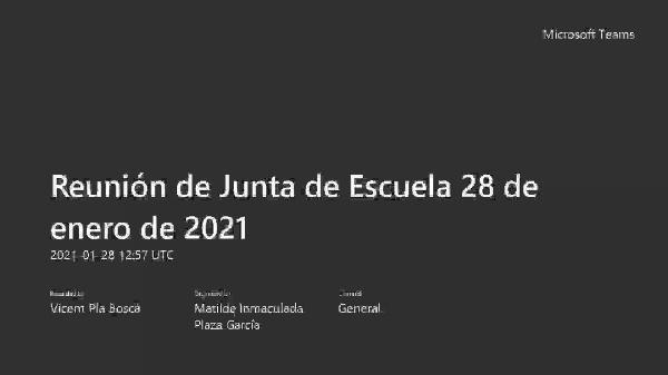 JdC 28 enero 2021. Informe del director