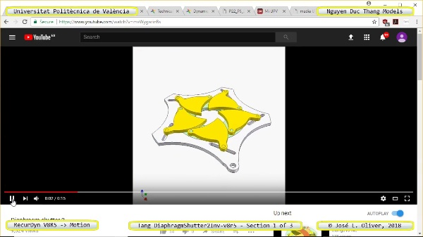Simulación Cinemática Tang_DiaphragmShutter2Inv-v8r5 con Recurdyn - CompX - 1 de 3