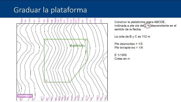 Sistema de planos acotados: procedimiento de cálculo de movimientos de tierras en explanaciones inclinadas a pendiente constante