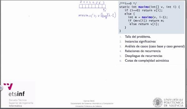 [PRG-OA] Complejidad Temporal Asintótica del Algoritmo Recursivo de Cálculo del Máximo en un Array