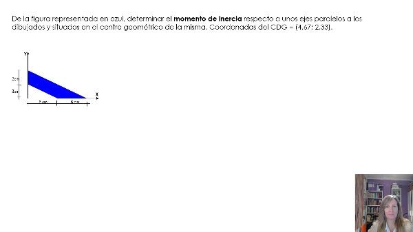 Ejemplo de cálculo de momentos de inercia de una superficie