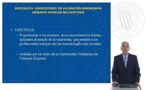 Especialista Universitario en Valoración Inmobiliaria mediante Modelos Multicriterio