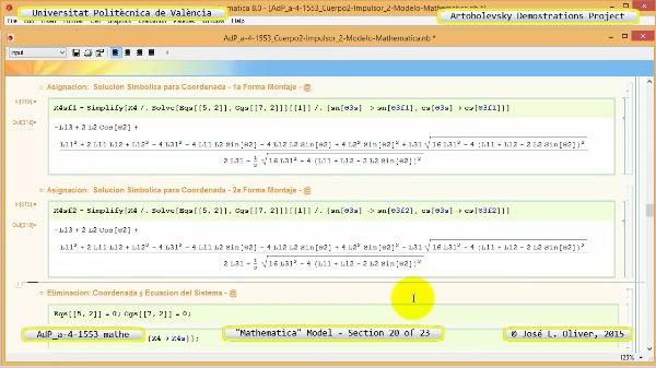 Solución Cinemática Simbólica a-4-1553 con Mathematica - 20 de 23 - Modelo Mathematica ¿ Ambas