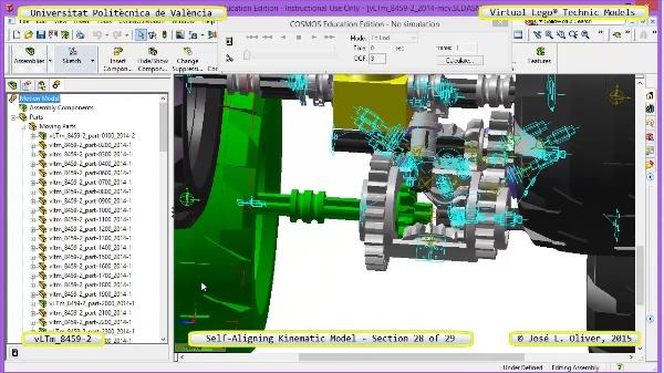 Simulación Cinemática Lego Technic 8459-2 con Cosmos Motion ¿ 28 de 29