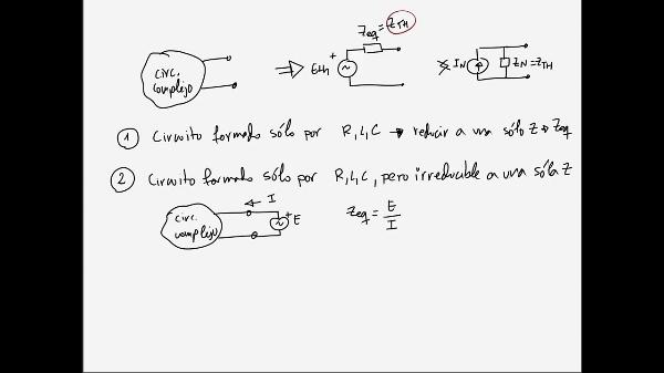 Teoría de Circuitos 1. Lección 6. 5-3 Cálculo de impedancia equivalente R,L,C en casos no reducibles