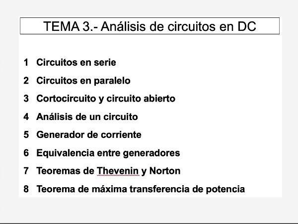 Teoría de Circuitos: 3.- Índice del tema