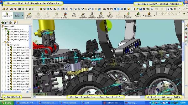 Simulación Dinámica Lego Technic 8049-1 sobre Base 3 de 3