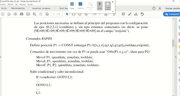 12626 Robotica (GIM): Ejemplo Programacion RAPID (Parte 2)