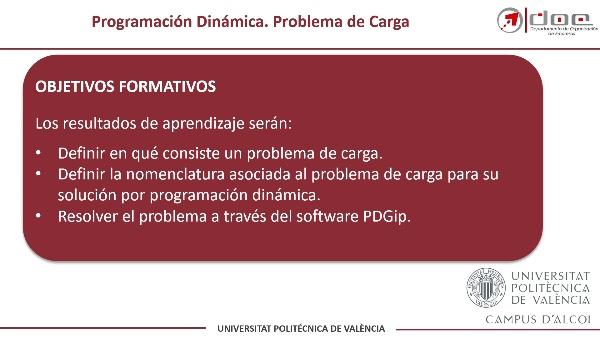 Programación Dinámica. Resolución de un Problema de Carga con PDGIP